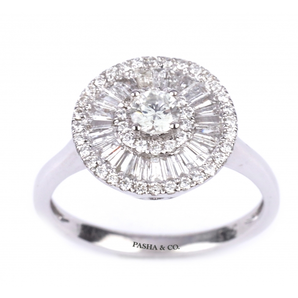 BAGET AND ROUND CUT DIAMOND RING